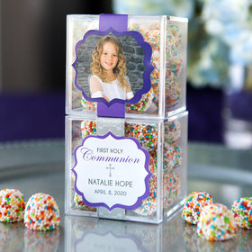Personalized Girl First Communion JUST CANDY® favor cube with Rainbow Berries