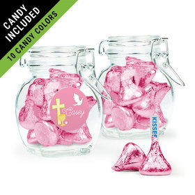 Personalized Girl First Communion Favor Assembled Swing Top Jar Filled with Hershey's Kisses