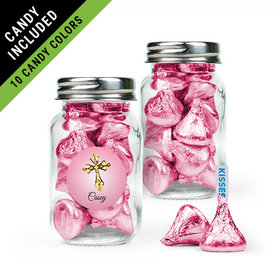 Personalized Girl First Communion Favor Assembled Mini Mason Jar Filled with Hershey's Kisses