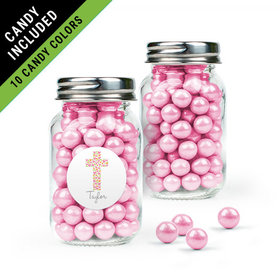 Personalized Girl First Communion Favor Assembled Mini Mason Jar Filled with Sixlets
