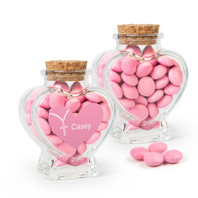Personalized Girl First Communion Favor Assembled Heart Jar Filled with Just Candy Milk Chocolate Minis
