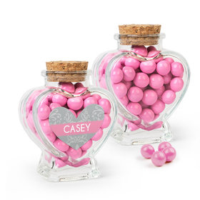 Personalized Girl First Communion Favor Assembled Heart Jar Filled with Sixlets