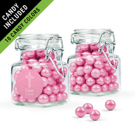 Personalized Girl First Communion Favor Assembled Swing Top Square Jar Filled with Sixlets