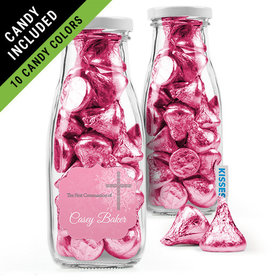 Personalized Girl First Communion Favor Assembled Milk Bottle Jar Filled with Hershey's Kisses