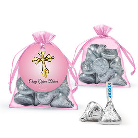 Personalized Girl First Communion Favor Assembled Organza Bag Filled with Hershey's Kisses