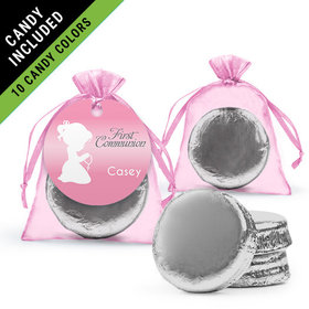Personalized Girl First Communion Favor Assembled Organza Bag Hang tag Filled with Chocolate Covered Oreo Cookie