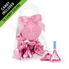 Personalized Girl First Communion Favor Assembled Purse Filled with Hershey's Kisses