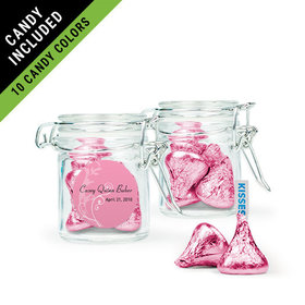 Personalized Girl First Communion Favor Assembled Swing Top Round Jar Filled with Hershey's Kisses