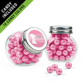 Personalized Girl First Communion Favor Assembled Mini Side Jar Filled with Sixlets