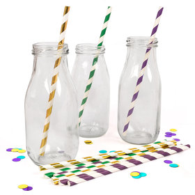 Mardi Gras Striped Paper Straws 72 Count