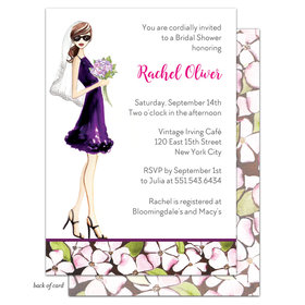 Bonnie Marcus Collection Personalized Bridal Shower Floral Bride Brunette Invitation