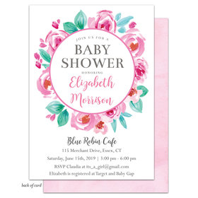 Bonnie Marcus Collection Personalized Floral Wreath Invitation - Pink