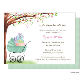 Bonnie Marcus Collection Personalized Green Beautiful Bassinet Invitation