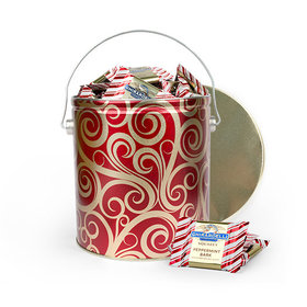 Golden Swirls 4.25lb Tin with Ghirardelli Peppermint Bark Squares