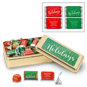 Personalized Sweet Gold 1 lb Happy Holidays Hershey's Mix Tin
