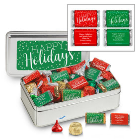 Personalized Sweet Silver Tin 1lb Happy Holidays Assortment