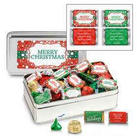 Personalized Sweet Silver Tin 1.5 lb Merry Christmas Assortment
