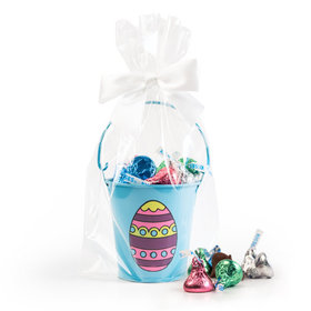 Blue Easter Egg Pail with Spring Mix Hershey's Kisses
