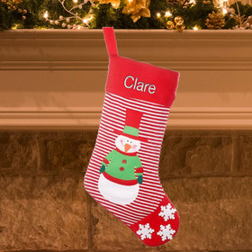 Personalized Red Striped Stocking (Green)