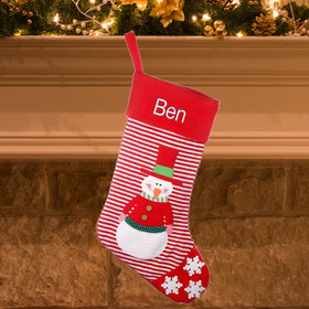 Personalized Red Striped Stocking (Red)