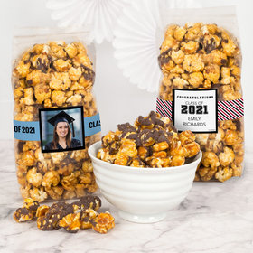 Personalized Graduation Chocolate Caramel Sea Salt Gourmet Popcorn 8 oz Bags