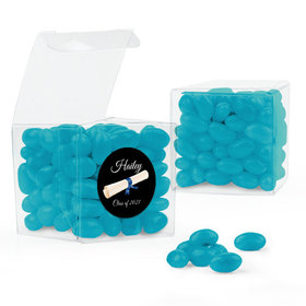 Personalized Blue Graduation Favor Assembled Clear Box Filled with Just Candy Jelly Beans