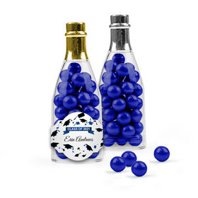 Personalized Blue Graduation Favor Assembled Champagne Bottle Filled with Sixlets