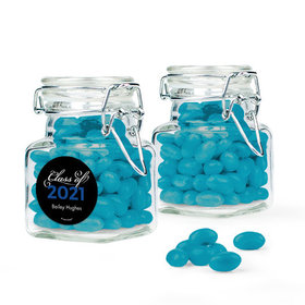 Personalized Blue Graduation Favor Assembled Swing Top Square Jar Filled with Just Candy Jelly Beans