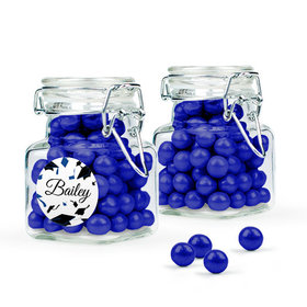 Personalized Blue Graduation Favor Assembled Swing Top Square Jar Filled with Sixlets