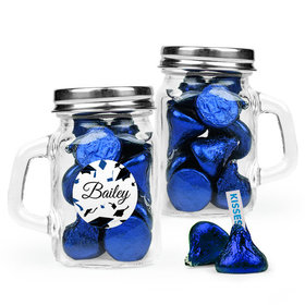 Personalized Blue Graduation Favor Assembled Mini Mason Mug Filled with Hershey's Kisses