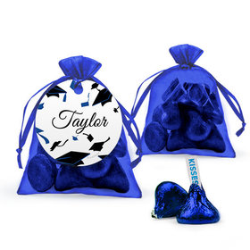 Personalized Blue Graduation Favor Assembled Organza Bag Filled with Hershey's Kisses