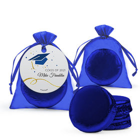Personalized Blue Graduation Favor Assembled Organza Bag Hang tag Filled with Chocolate Covered Oreo Cookie