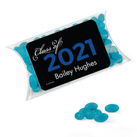 Personalized Blue Graduation Favor Assembled Pillow Box Filled with Just Candy Jelly Beans