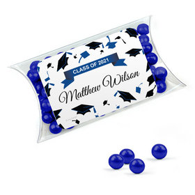 Personalized Blue Graduation Favor Assembled Pillow Box Filled with Sixlets