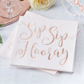 Sip Sip Hooray Napkins - Rose Gold