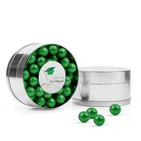 Personalized Green Graduation Favor Assembled Small Round Plastic Tin Filled with Sixlets