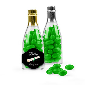 Personalized Green Graduation Favor Assembled Champagne Bottle Filled with Just Candy Jelly Beans