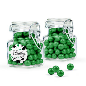 Personalized Green Graduation Favor Assembled Swing Top Square Jar Filled with Sixlets
