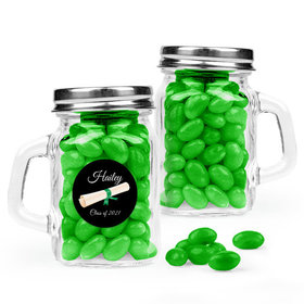 Personalized Green Graduation Favor Assembled Mini Mason Mug Filled with Just Candy Jelly Beans