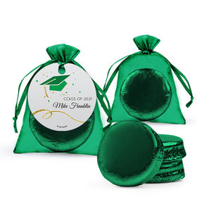 Personalized Green Graduation Favor Assembled Organza Bag Hang tag Filled with Chocolate Covered Oreo Cookie