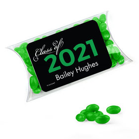 Personalized Green Graduation Favor Assembled Pillow Box Filled with Just Candy Jelly Beans