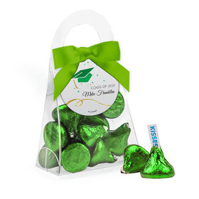 Personalized Green Graduation Favor Assembled Purse Filled with Hershey's Kisses