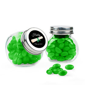 Personalized Green Graduation Favor Assembled Mini Side Jar Filled with Just Candy Jelly Beans