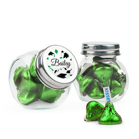 Personalized Green Graduation Favor Assembled Mini Side Jar Filled with Hershey's Kisses