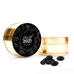 Personalized Black Graduation Favor Assembled Small Round Plastic Tin Filled with Just Candy Jelly Beans