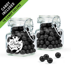 Personalized Black Graduation Favor Assembled Swing Top Square Jar Filled with Sixlets