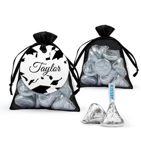 Personalized Black Graduation Favor Assembled Organza Bag Filled with Hershey's Kisses