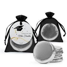 Personalized Black Graduation Favor Assembled Organza Bag Hang tag Filled with Chocolate Covered Oreo Cookie