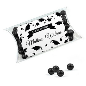 Personalized Black Graduation Favor Assembled Pillow Box Filled with Sixlets