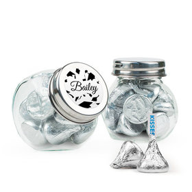 Personalized Black Graduation Favor Assembled Mini Side Jar Filled with Hershey's Kisses